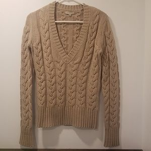Tan Burberry Cashmere Cable V Neck Sweater